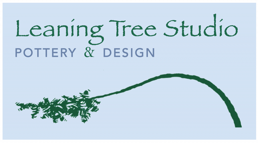Leaning Tree Studio Logo, Green Tree over blue background
