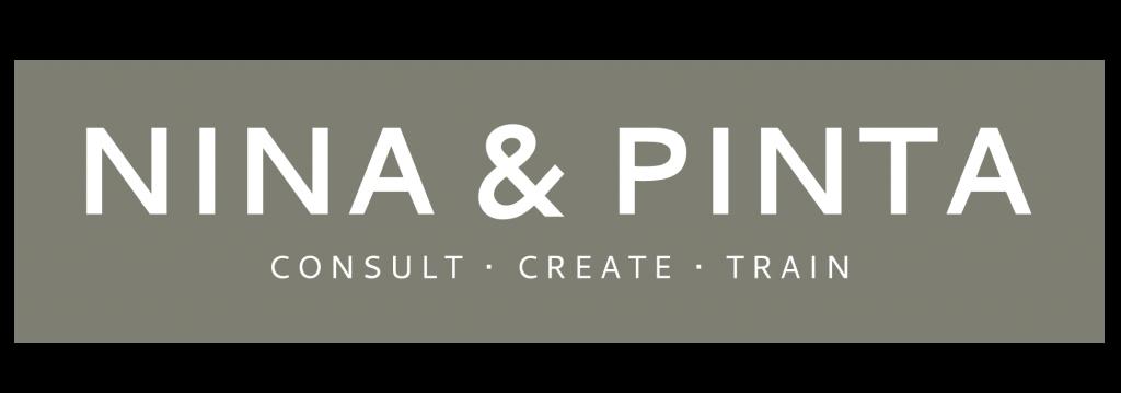 Nina & Pinta Logo, white lettering over beige box